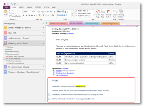 How to effectively use OneNote 2013 shared meeting notes