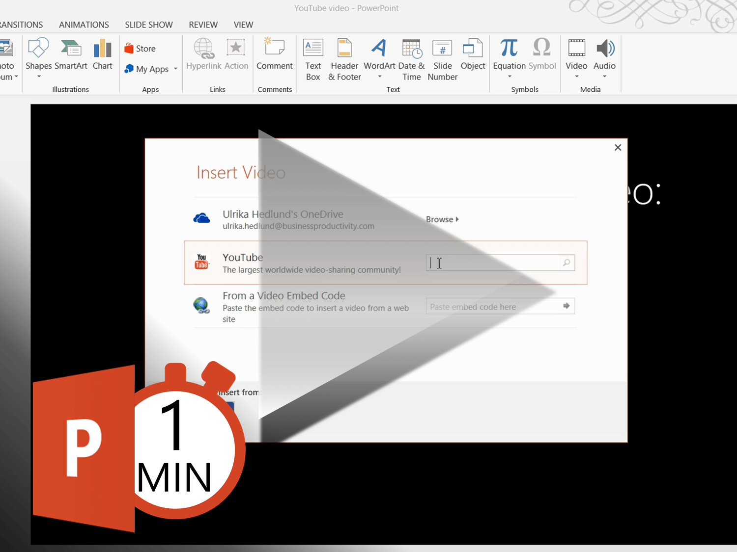 How to insert a YouTube video in PowerPoint 2013