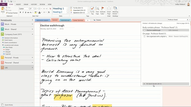 How to search notes